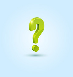 Green question mark isolated on blue background vector image