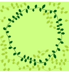 Green vine leaves circle frame vector