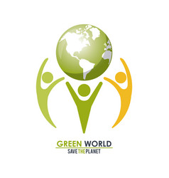 Group of people holding a green globe world vector