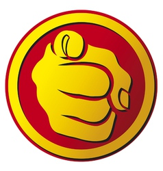 Hand pointing button vector image vector image