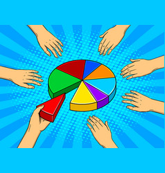 hands taking pieces of pie chart vector image vector image