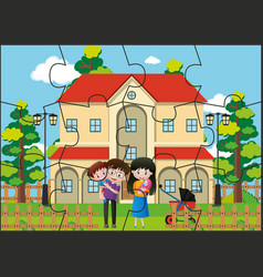 Jigsaw puzzle game with family at home vector
