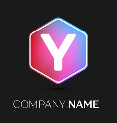 letter y logo symbol in colorful hexagonal vector image vector image