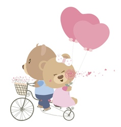 Love concept of couple teddy bear doll cycling vector