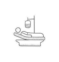 Patient lying on bed sketch icon vector image
