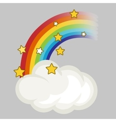 Rainbow cloud and stars vector