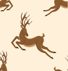 seamless pattern with jumping deers retro texture vector image