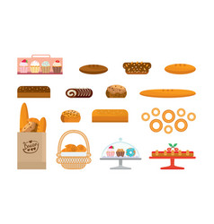 Set of bakery products and elite bread sweets vector