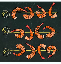 shrimp on wood stick prawn kebab seafood bbq vector image vector image