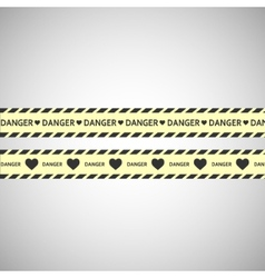 Simple warning tape love content on a gray vector