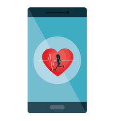 Smartphone with cardio app vector