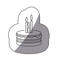 sticker silhouette birthday cake with candles vector image vector image