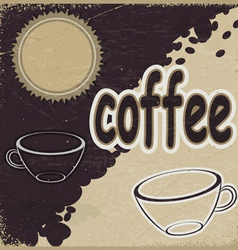 Vintage background with the image of cups vector image vector image