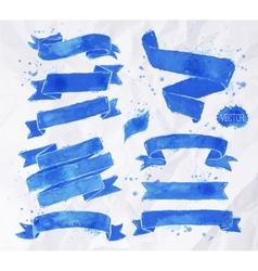 Watercolors ribbons blue vector