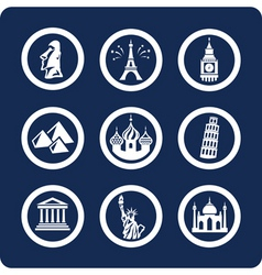 world famous places icons vector image