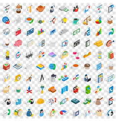 100 startup icons set isometric 3d style vector image