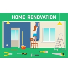 Room repair in home interior renovation in vector