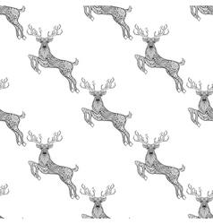 Magic horned deer seamless pattern in zentangle vector