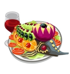 Tasty prepared fish with vegetables and red wine vector