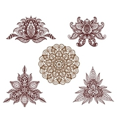 Set of mandalas lotus and decorative elements for vector