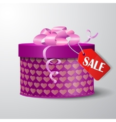 Valentine red gift box with heart shapes vector image