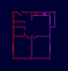 Apartment house floor plans  line icon vector