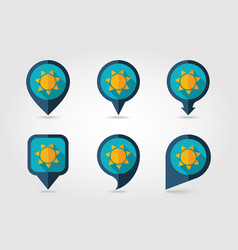 sun flat mapping pin icon with long shadow vector image