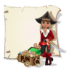girl pirate blank frame vector image
