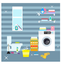 Colorful laundry room elements concept vector