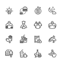 Obesity behavioral risk factors line icons set vector