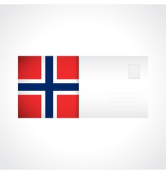 Envelope with norwegian flag card vector