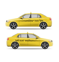 realistic yellow taxi car car mockup isolated on vector image