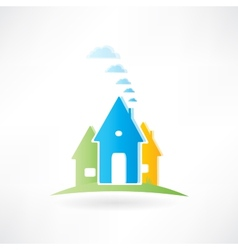 Three houses are on a hill vector