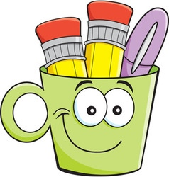 Cartoon smiling cup holding pencils and pens vector