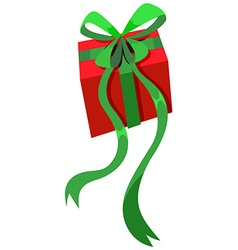 Present box with green ribbon vector