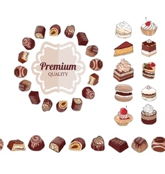 Different chocolate candies desserts and pastry vector