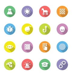 colorful flat icon set 7 on circle with long shado vector image