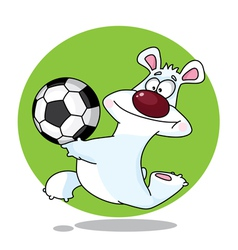 funny polar bear and ball vector image