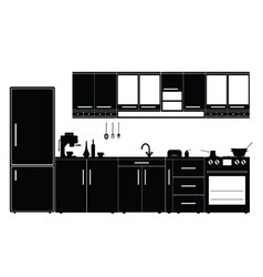 Kitchen with furniture black vector