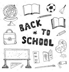 Back to school hand drawn sketch doodles set vector