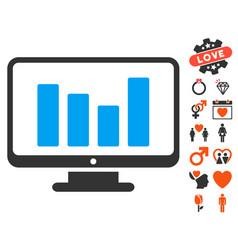 bar chart monitoring icon with valentine bonus vector image vector image