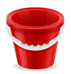 beach red bucket childrens toy for sand stock vector image vector image