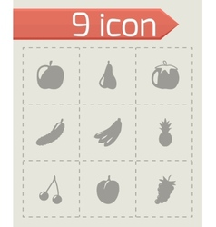 black fruit and vegetables icons set vector image vector image