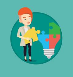 Businesswoman having business idea vector