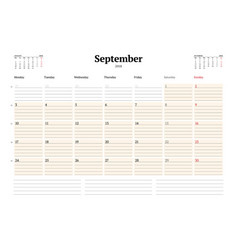 calendar planner template for 2018 year september vector image vector image