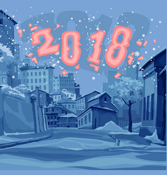 Cartoon street of old town in the winter of 2018 vector