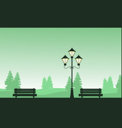 Chair and street lamp landscape of silhouettes vector