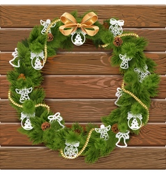 Christmas wreath on wooden board 9 vector