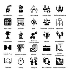 collection of business and management glyph icons vector image