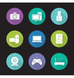 Consumer electronics flat design icons set vector